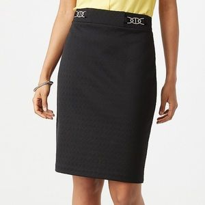 Plus Size Black Hardware Jacquard Pencil Skirt